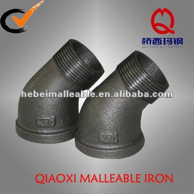 black casting street 45 degree elbow malleable iron pipe fitting