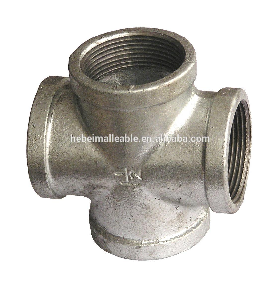 Factory making Press Gas Fitting Female Elbow - QXM brand BS standard beaded galvanized cast iron four way pipe fitting elbow cross bend reducer flange – Jinmai Casting