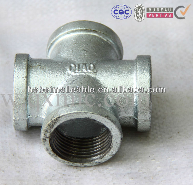 BS standard Malleable Iron Pipe Fitting cross