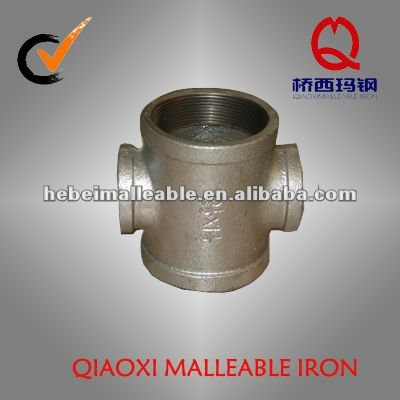 banded reducing cross joint gi malleable iron pipe fitting