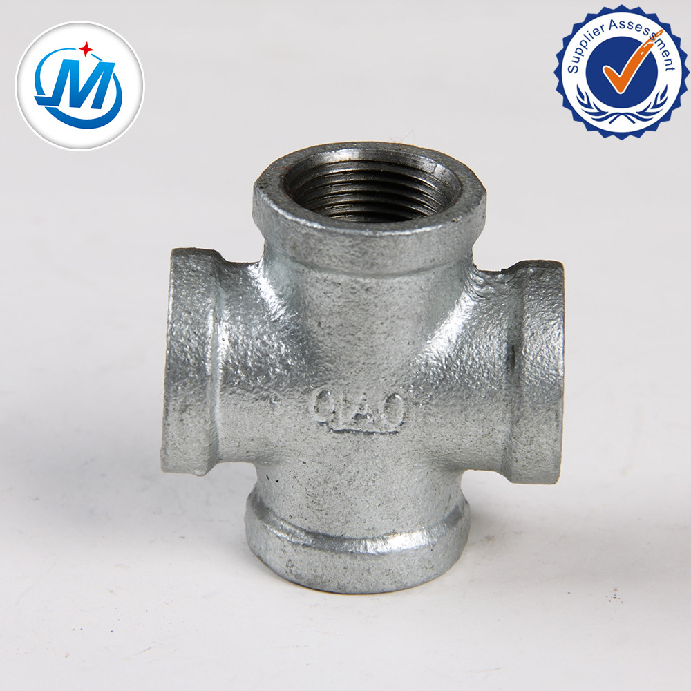 Galvanized malleable iron pipe fitting cross