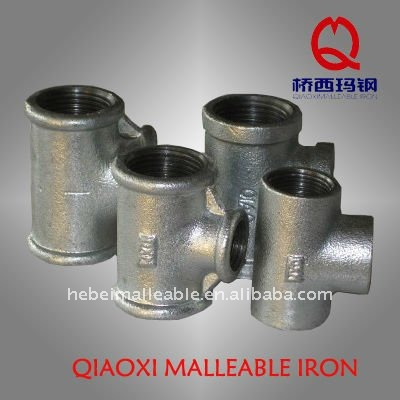 high pressure galvanized pipe fitting malleable cast iron test tee