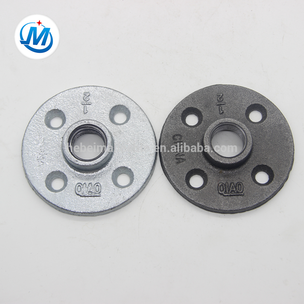 """Wholesale Price Cast Iron Pipe Connector - QIAO150 lbs 3/4"""" malleable iron pipe fitting thread flange with four holes – Jinmai Casting detail pictures"""