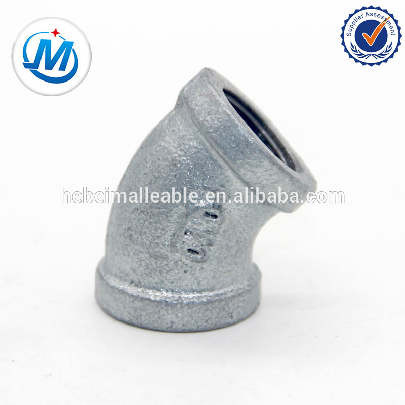 din thread malleable iron pipe fitting for gas pipeline materials 45 elbow