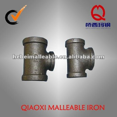 black casting malleable iron pipe fitting pressure test reducing tee