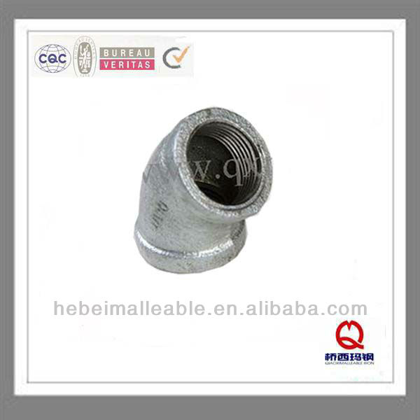 """OEM China Male And Female Thread Elbow - QIAO 3/4"""" galvanized Malleable iron pipe fittings 45 degree elbow – Jinmai Casting"""