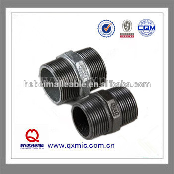 Online Exporter Pipe Plug Fitting - Malleable Iron Pipe Fitting cheaper Male Hexagon Nipple – Jinmai Casting detail pictures