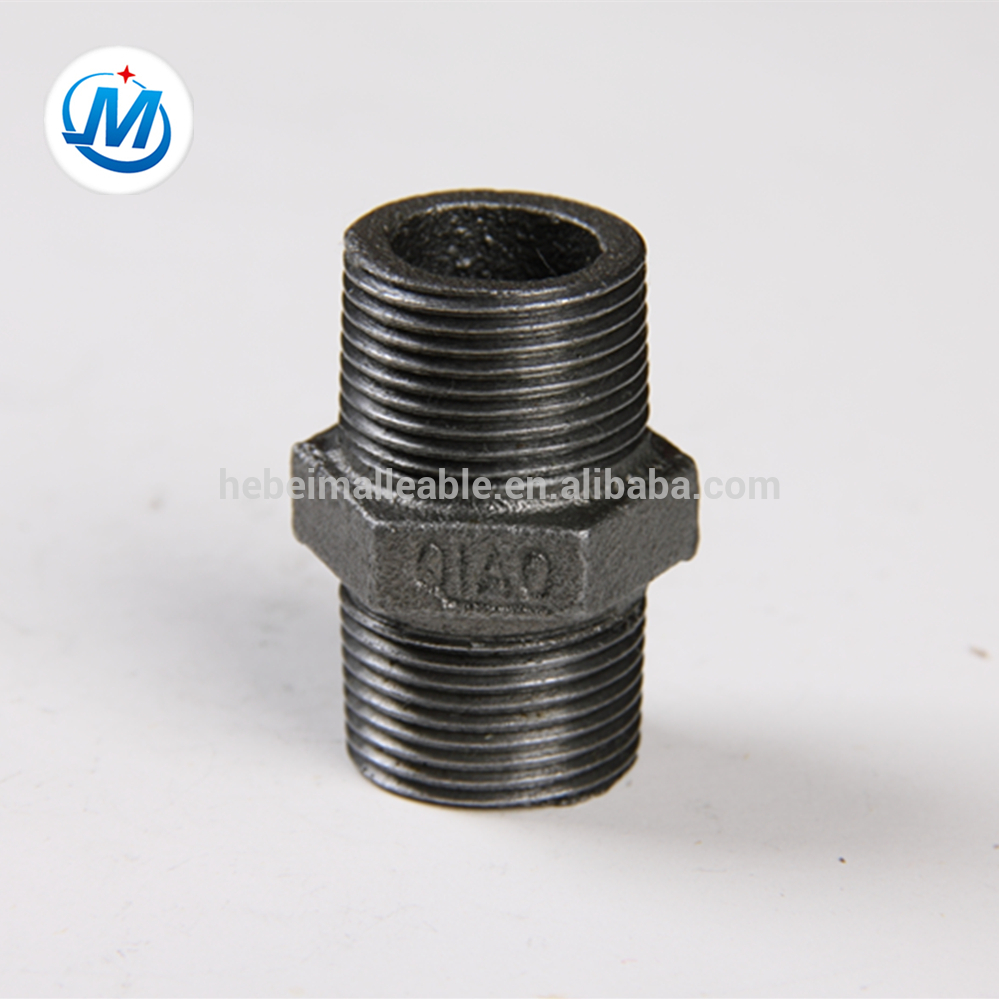 black malleable iron pipe fitting hexagon nipple
