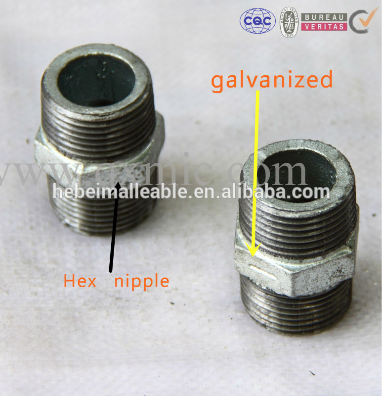 Low price for Class 150 Malleable Iron Pipe Reducing Elbow - Malleable Iron Pipe Fitting Male Hexagon Nipple280 – Jinmai Casting