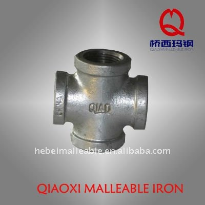 galvanized malleable iron cast pipe fitting 4-way cross
