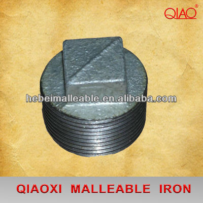 Factory wholesale Beaded Black Pipe Fittings - malleable cast iron pipe fitting galvanized threaded plug – Jinmai Casting detail pictures
