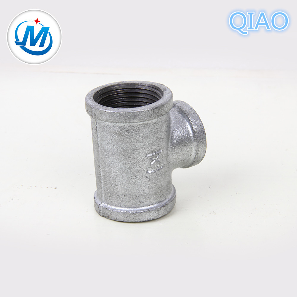 Top Suppliers Gi Pipe Fittings Screw Fittings 90 130 280 - Galvanized Malleable Iron Pipe Fittings Tee QIAO Brand – Jinmai Casting detail pictures