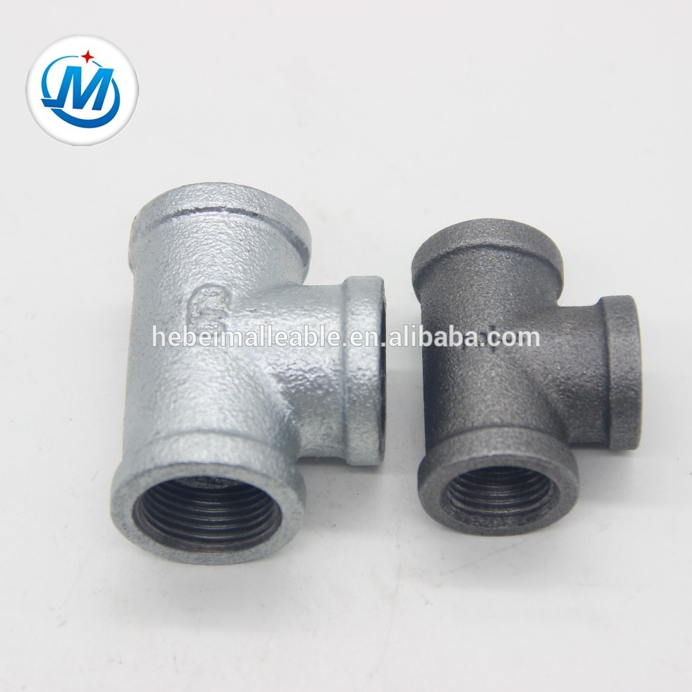 cast iron pipe fitting black and galvanized tee
