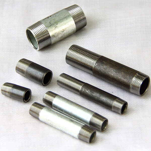 SCH 40 steel pipe fitting BS threaded pipe nipples