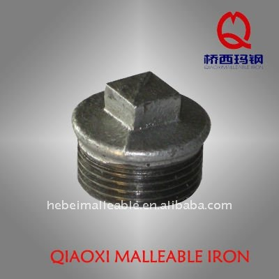 npt galvanized pipe fitting hex round head plug threaded