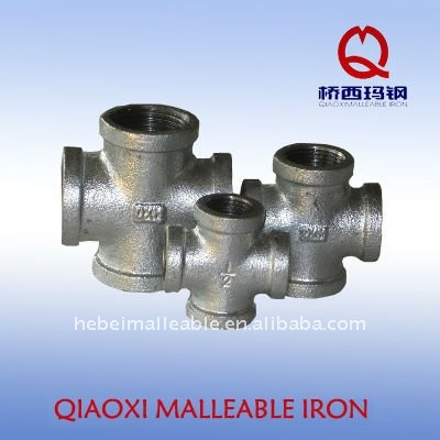 galvanized malleable iron pipe fitting cast screw cross joint