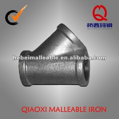 45 degree galvanized malleable iron pipe fitting lateral y branches tee