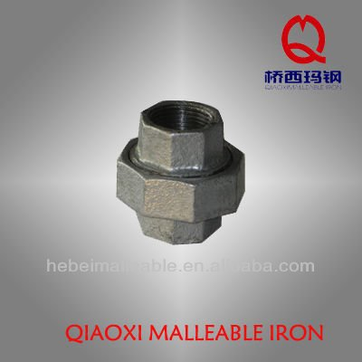 "3""NPT malleable iron pipe fittings flat seat without gasket hexagon union"