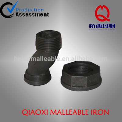 black malleable iron gas pipe fitting meter swivel offset