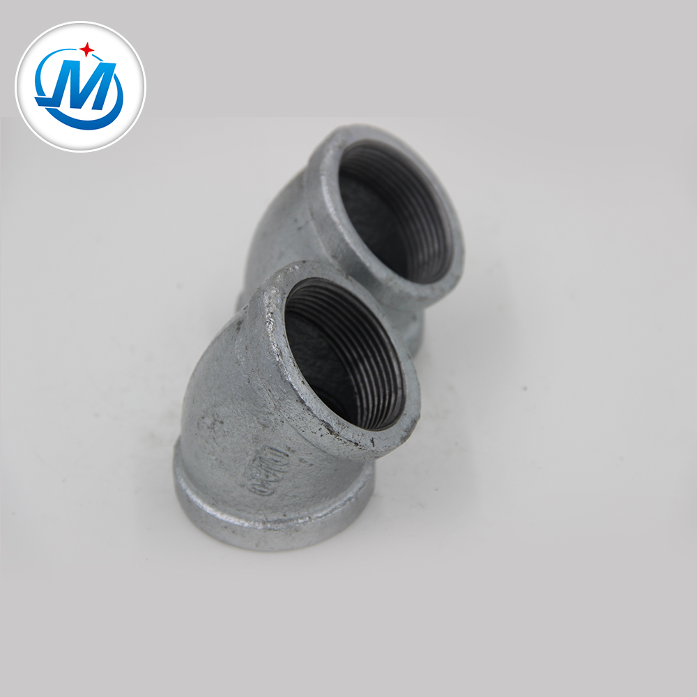 Best Price on Elbow Steel Sch 40 - BS Standard ANSI Threading Hot Dipped Galvanized Pipe Fittings 45 Degree Elbow – Jinmai Casting