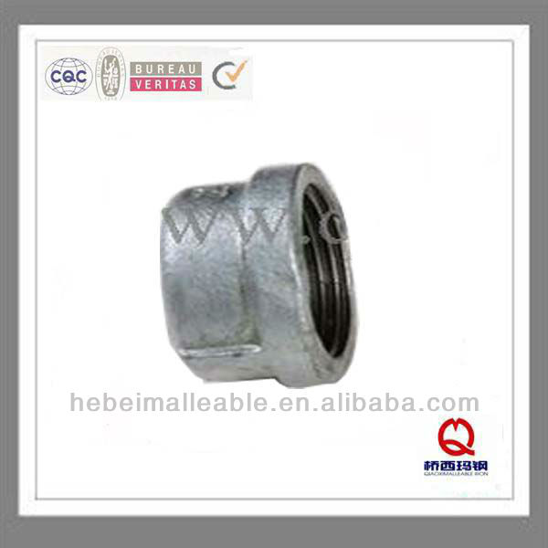 """Quality Inspection for Iron Pipe Fittings - QIAO 1-1/4""""hot dipped galvanized malleable iron pipe fittings banded round cap – Jinmai Casting"""