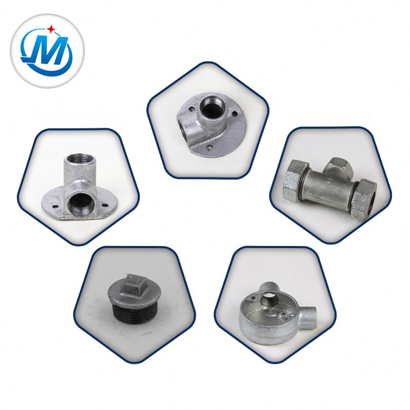 professional factory for Brass Pipe Fitting 3 Way Tee - Dip Galvanized Malleable Cast Iron Water Pipe Fittings – Jinmai Casting detail pictures