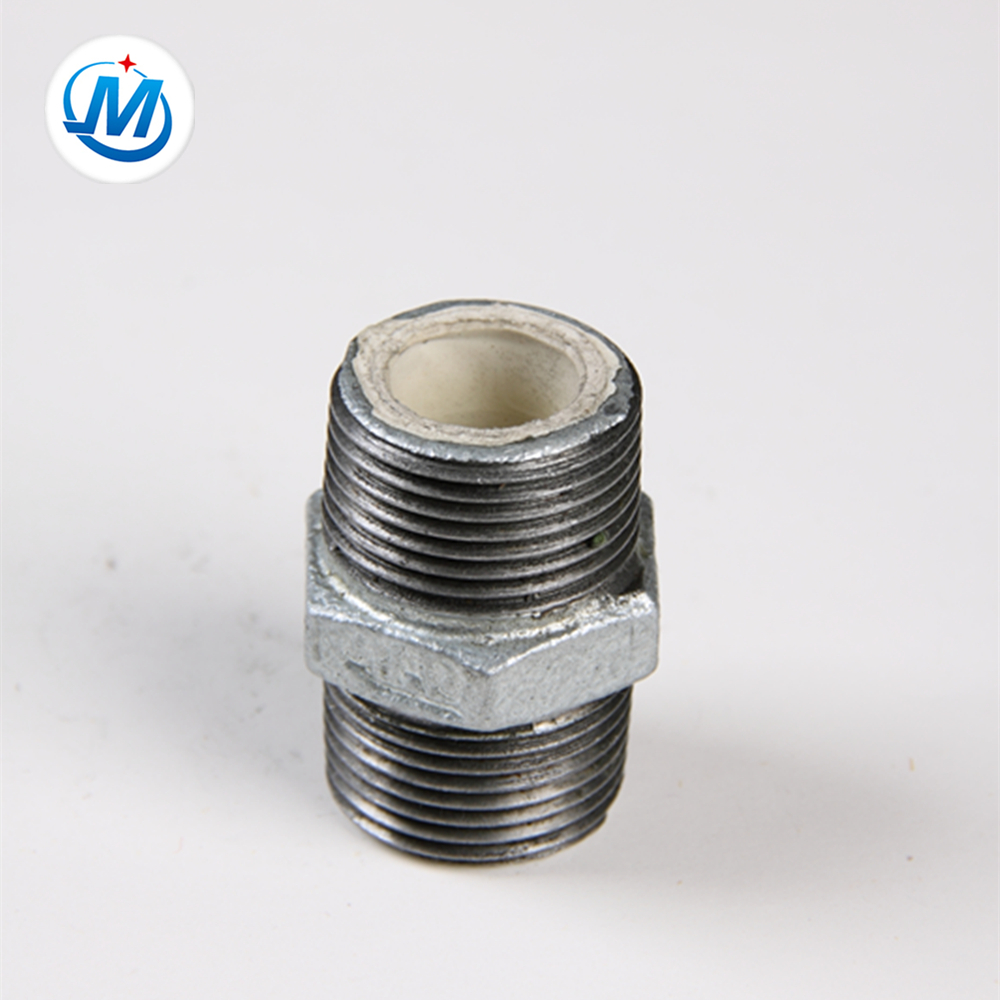 galvanized malleable iron threaded plumbing hexagon nipple with lining plastic