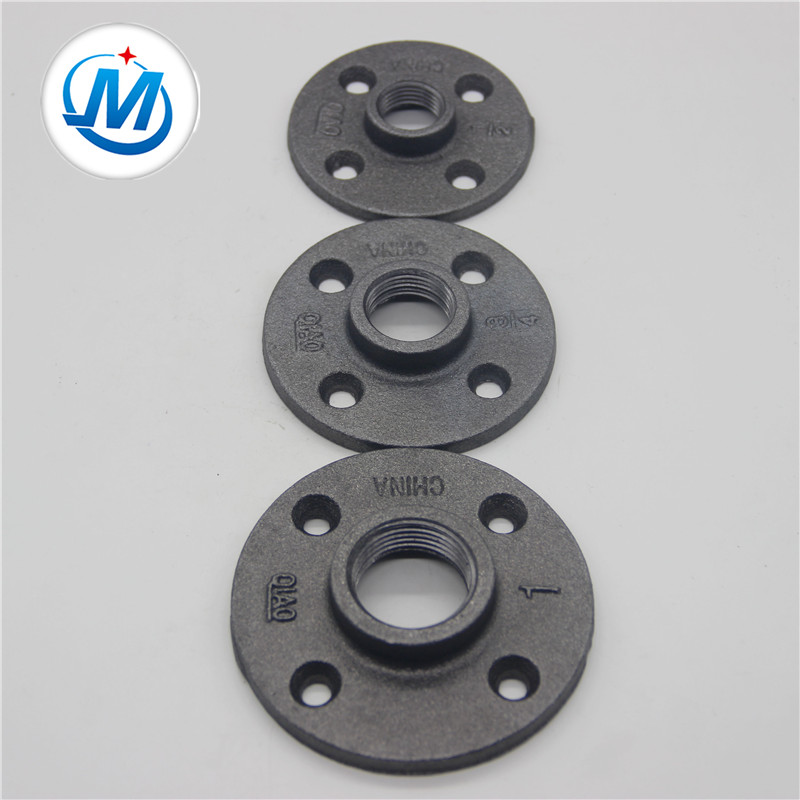 Malleable iron pipe fittings floor flange hot dipped galvanized and black
