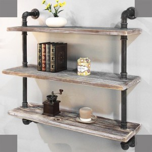 Rustic Pipe Shelving Unit, Metal Dekorativ Accent Wall Boek Rekken foar Home of Office Organizer Picture Show